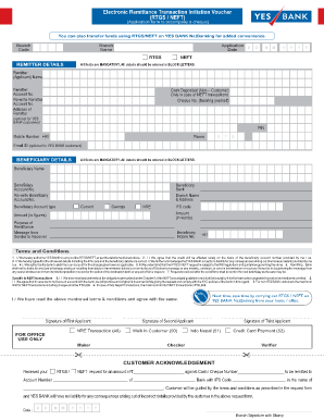Yes Bank Rtgs Form - Fill Online, Printable, Fillable, Blank | PDFfiller