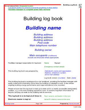 Building Log Book Template