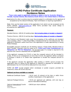 Acro Police Certificate >> Fillable Online Acro Police Certificate Application Guidance