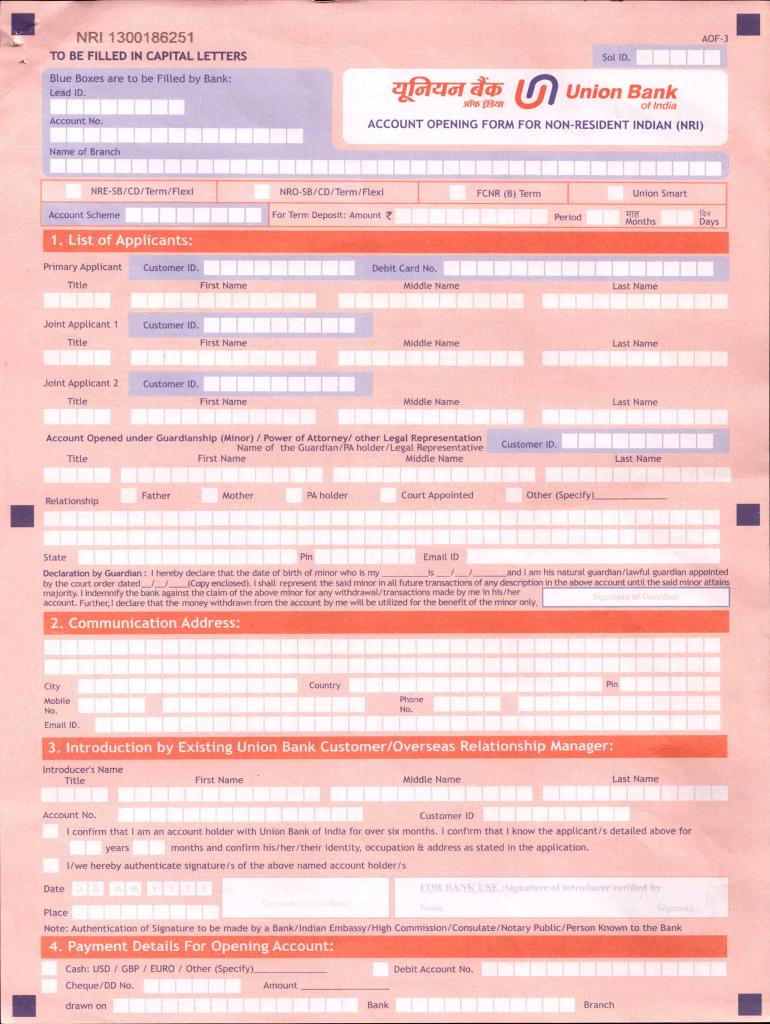 union bank online form