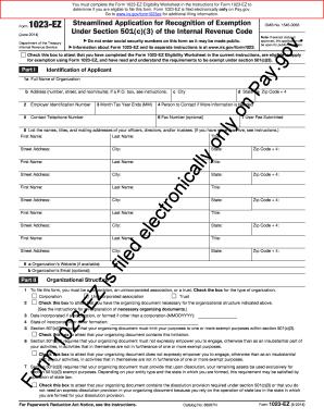 1023 Ez Form Download - Fill Online, Printable, Fillable ...
