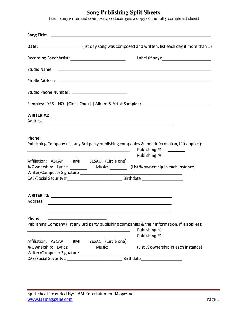 Split Sheet Template Fill Online Printable Fillable