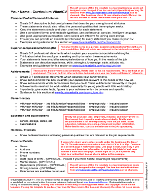 student cv template pdf form