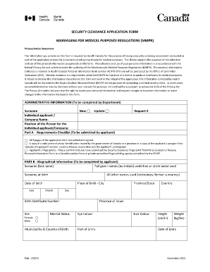 Fillable Online Security Clearance Application Form - Final Nov 25 ...
