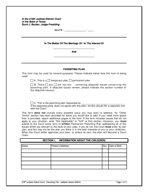 Fillable Online Sample Parenting Plan Form - Collin County Fax ...