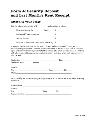 security deposit receipt form Form Security Rent - Fill Online, Printable, Fillable, Blank | PDFfiller