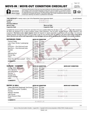 Arizona Association Of Realtors Move In Move Out Checklist - Fill ...
