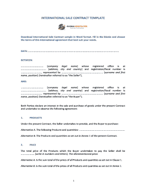 International Sale Contract Template - Global Negotiator