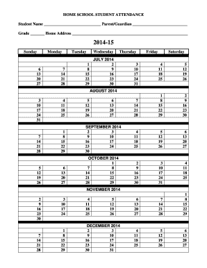 homeschool attendance calendar form