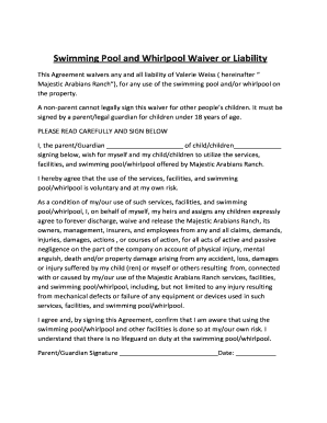 Fillable Online Swimming Pool And Whirlpool Waiver Or