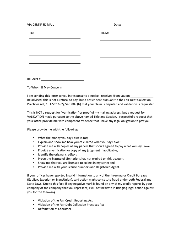 Debt Validation Letter Template from www.pdffiller.com