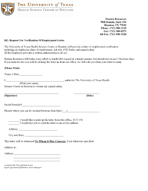 Sample Employment Verification Letter Forms and Templates Fillable