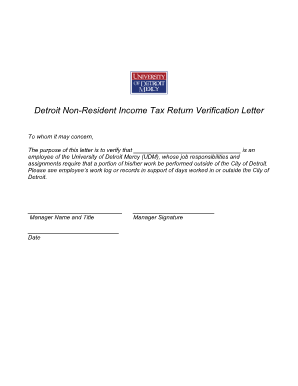 Verification Letter Of Income Tax Return