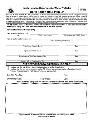 3rd Party Dmv >> South Carolina Dmv Fill Online Printable Fillable Blank