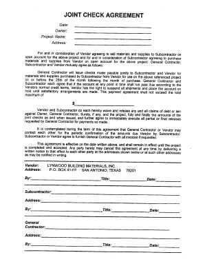 Joint Check Agreement Forms - Fill Online, Printable, Fillable ...