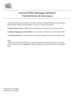 Standard NMLS Mortgage Call Report Field Definitions & Instructions