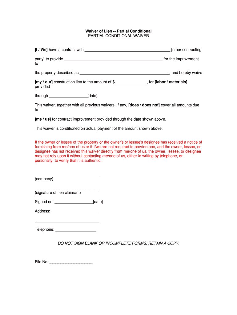 Partial Conditional Waiver Fill Online Printable Fillable Blank Pdffiller