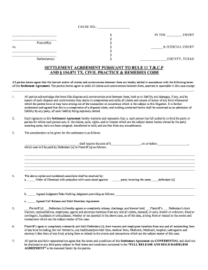 Editable settlement agreement and release of all claims template ...