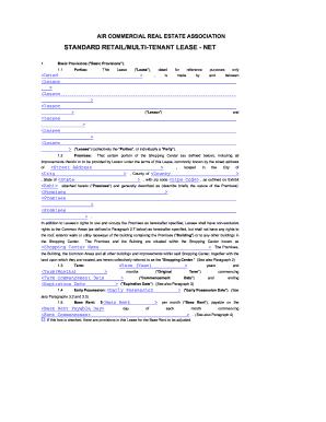 Fillable Online Standard retail/multi-tenant lease - net - AIR ...