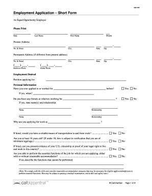 fillable online employment application short form fax email print