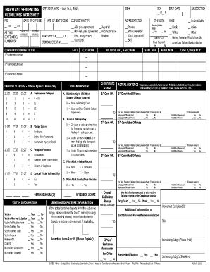 fillable online maryland sentencing guidelines worksheet maryland state fax email print. Black Bedroom Furniture Sets. Home Design Ideas