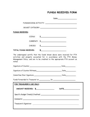 Fillable Online FUNDS RECEIVED FORM Fax Email Print - PDFfiller