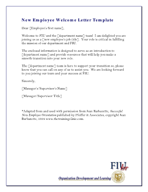 new employee welcome letter fill online printable fillable blank pdffiller