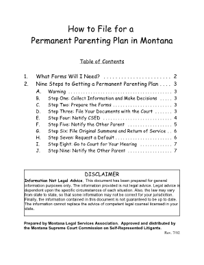 shared parenting plan template - parenting plan montana fill online printable fillable