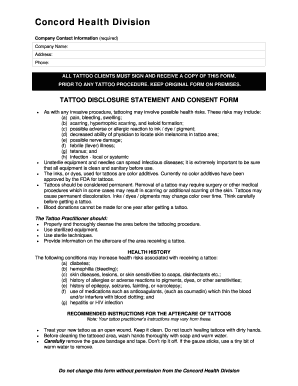 Consent Forms For Tattooing  Blank Consent Form