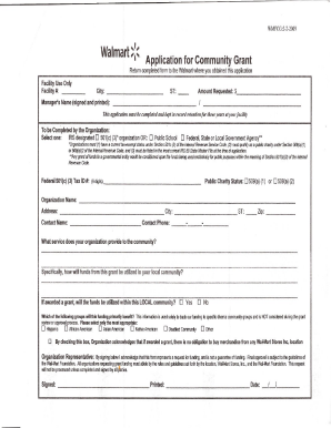 Fillable Online WalMart Grant Application Form Fax Email Print ...