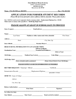 Fillable Online Former student records request form - Old Bridge ...