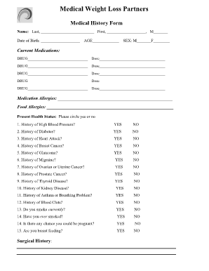 Fillable Online Medical History Form