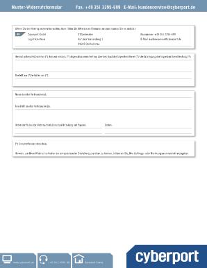 fillable online hinterlegte muster widerrufsformular cyberport fax email print pdffiller. Black Bedroom Furniture Sets. Home Design Ideas