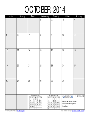 October 2014 Calendar PDF - Vertex42