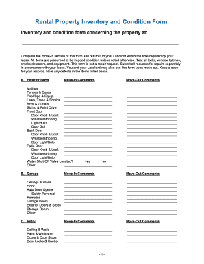 Inventory Template For A Rented Property Forms - Fillable ...