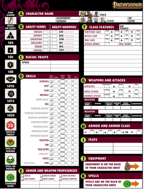 Fan image throughout printable pathfinder character sheet