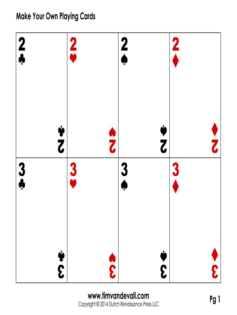 Playing Card Template - Fill Online, Printable, Fillable, Blank In Free Printable Playing Cards Template