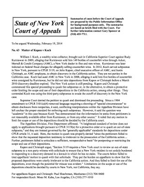 Summaries of cases before the Court of Appeals - nycourts
