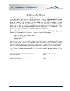 Dodd Frank Certification Form Fill Online Printable Fillable