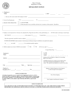 Separation Notice Printable Form