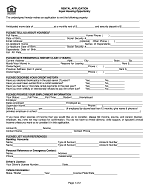 Equal housing opportunity rental application fill online for Housing rental application template