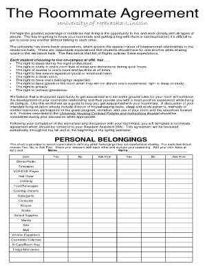 Roommate Agreement Form Templates - Fillable & Printable Samples ...