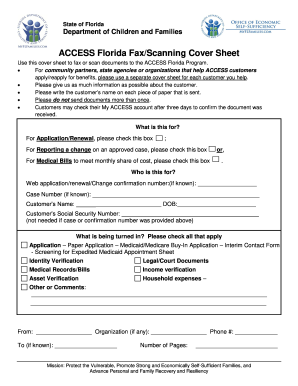 access fax cover sheet form