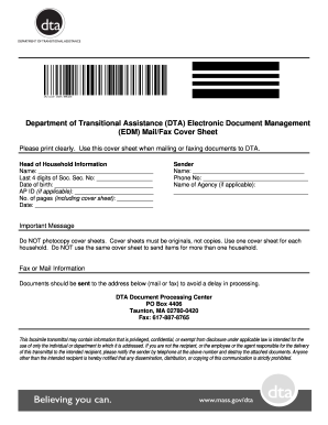 dta fax cover sheet form