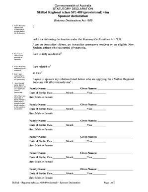 statutory declaration form immigration Templates ...