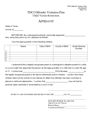 Tdcj Offender Visitation Plan Attachment F - Fill Online