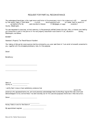 Partial Reconveyance Form Washington - Fill Online, Printable ...