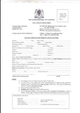100393191 Tanzania Visa Application Form on b1 b2, ds-260 immigrant, italy schengen,