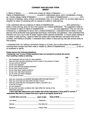 Tattoo Indemnity Form Template Fill Online Printable Fillable