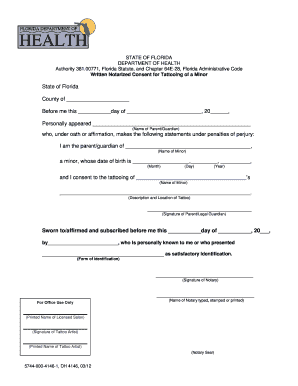 Notarized Minor Consent Form - Duval County Health Department